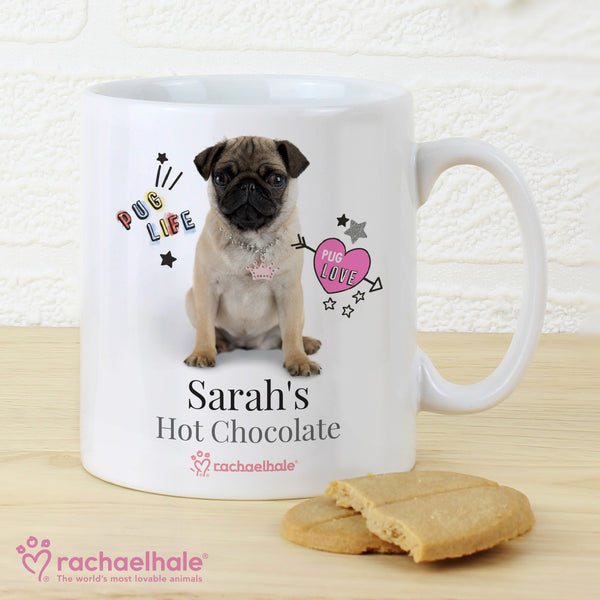 Personalised Rachael Hale Doodle Pug Mug with personalised name