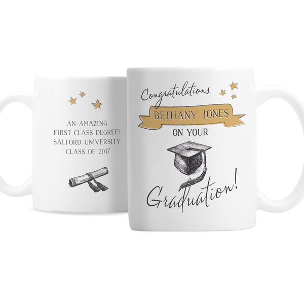Personalised Gold Star Graduation Mug white background