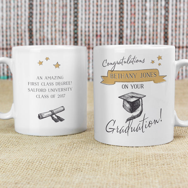 Personalised Gold Star Graduation Mug from Sassy Bloom Gifts - alternative view
