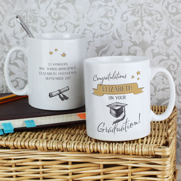 Personalised Gold Star Graduation Mug lifestyle image