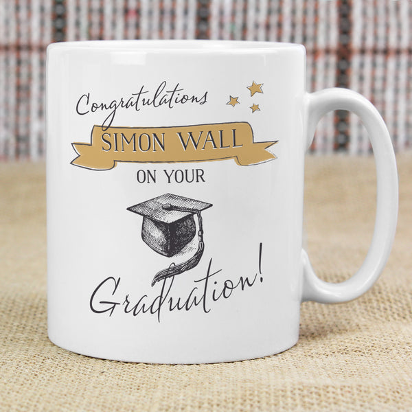 Personalised Gold Star Graduation Mug with personalised name