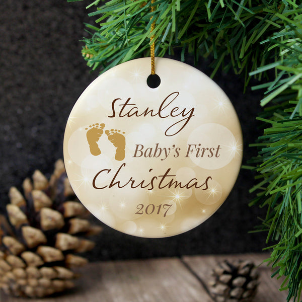 Personalised Neutral My 1st Christmas Round Ceramic Decoration from Sassy Bloom Gifts - alternative view