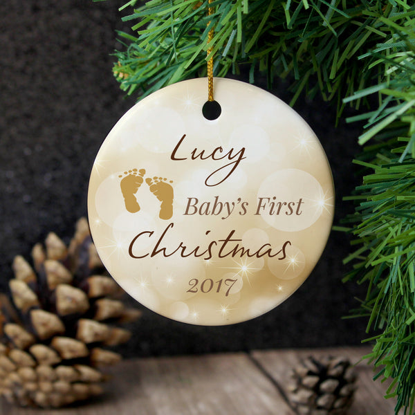 Personalised Neutral My 1st Christmas Round Ceramic Decoration with personalised name