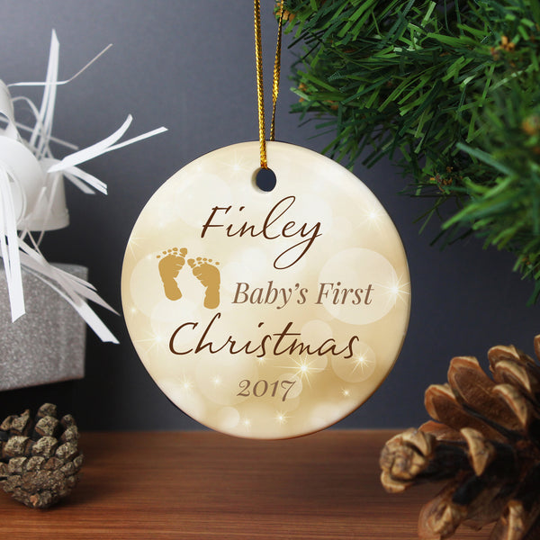 Personalised Neutral My 1st Christmas Round Ceramic Decoration