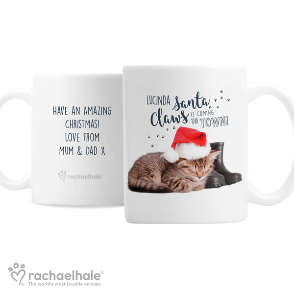 Personalised Rachael Hale Santa Claws Christmas Cat Mug white background