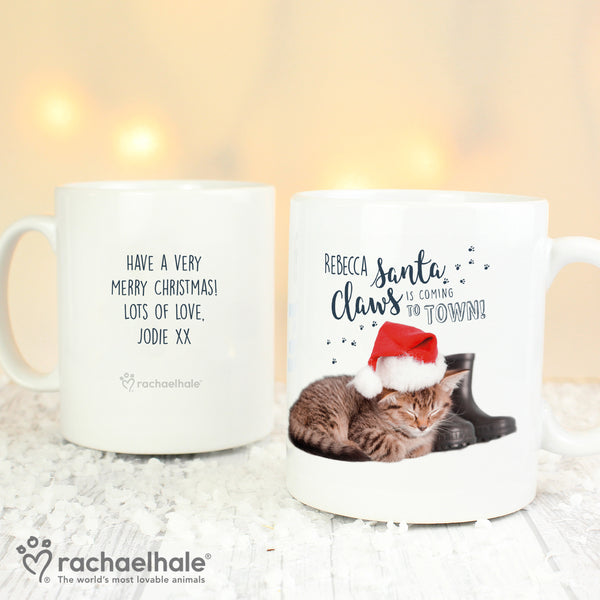 Personalised Rachael Hale Santa Claws Christmas Cat Mug from Sassy Bloom Gifts - alternative view