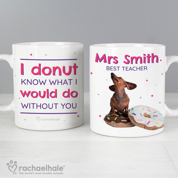 Personalised Rachael Hale 'I Donut Know' Mug with personalised name