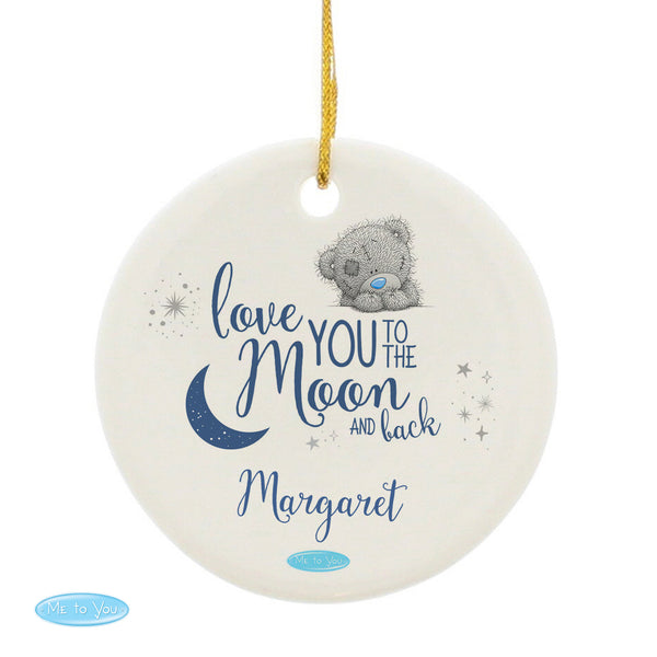 Personalised Me to You 'Love You to the Moon and Back' Round Decoration white background