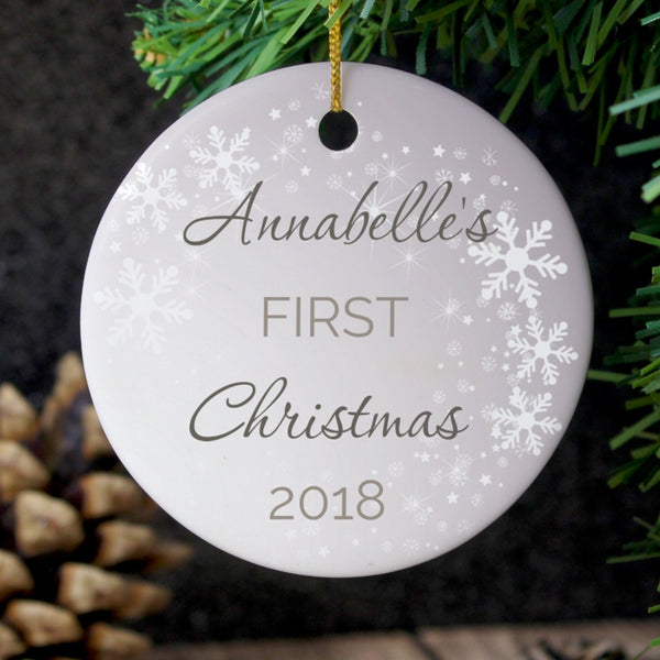 Personalised 1st Christmas Round Ceramic Decoration lifestyle image