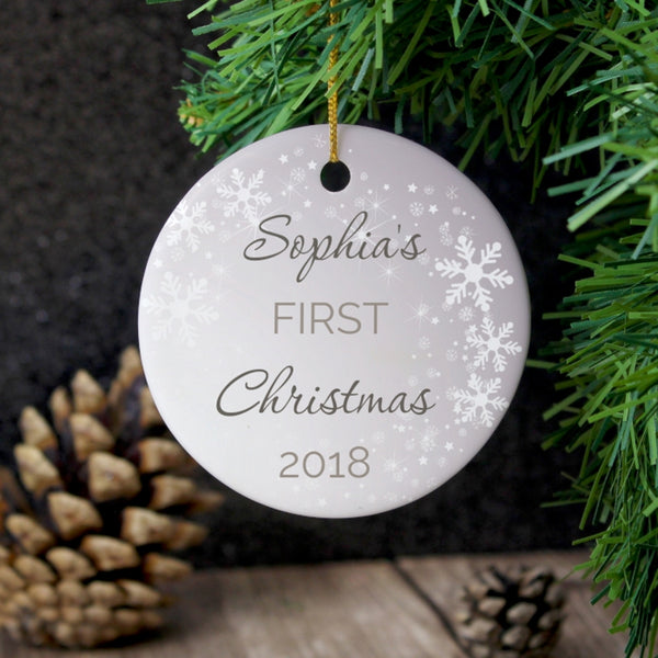 Personalised 1st Christmas Round Ceramic Decoration with personalised name