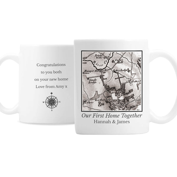 Personalised 1805 - 1874 Old Series Map Compass Mug white background