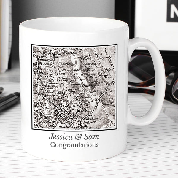 Personalised 1805 - 1874 Old Series Map Compass Mug with personalised name