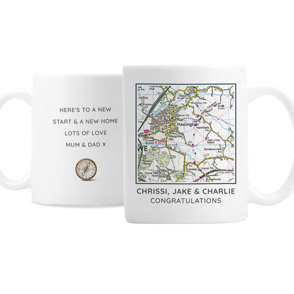 Personalised Present Day Map Compass Mug white background