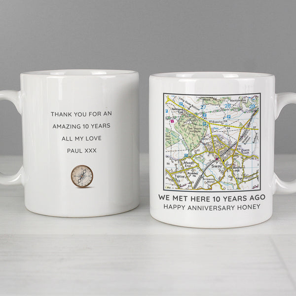 Personalised Present Day Map Compass Mug with personalised name