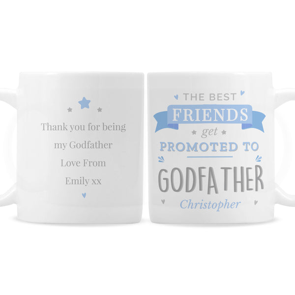 Personalised Blue Promoted to Mug with personalised name