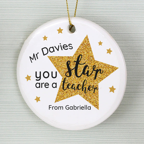 Pesonalised Star Teacher's Round Ceramic Decoration from Sassy Bloom Gifts - alternative view