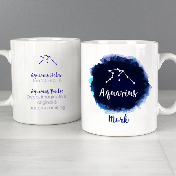 Personalised Aquarius Zodiac Star Sign Mug (January 20th - February 18th) from Sassy Bloom Gifts - alternative view
