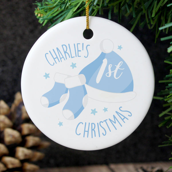 Personalised 1st Christmas Blue Round Ceramic Decoration from Sassy Bloom Gifts - alternative view