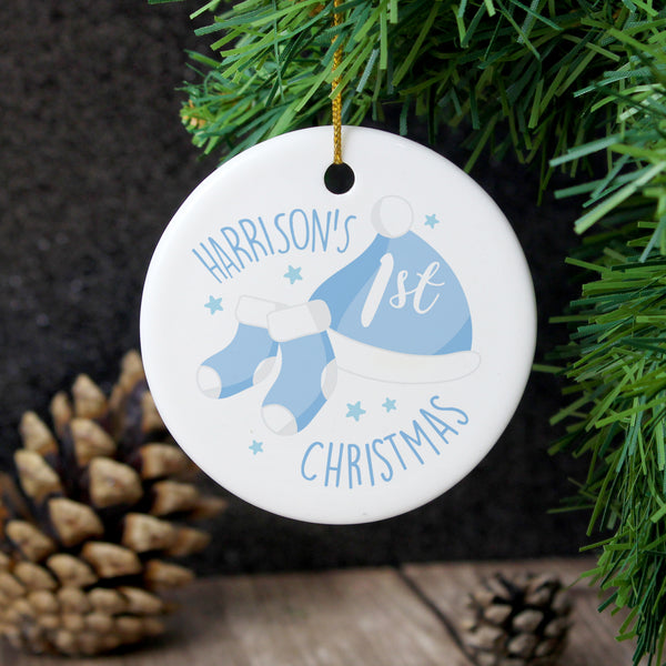 Personalised 1st Christmas Blue Round Ceramic Decoration with personalised name