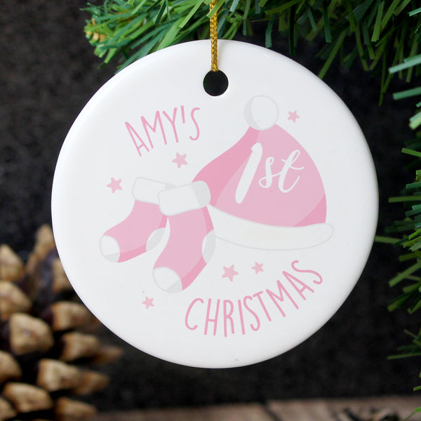 Personalised 1st Christmas Pink Round Ceramic Decoration with personalised name