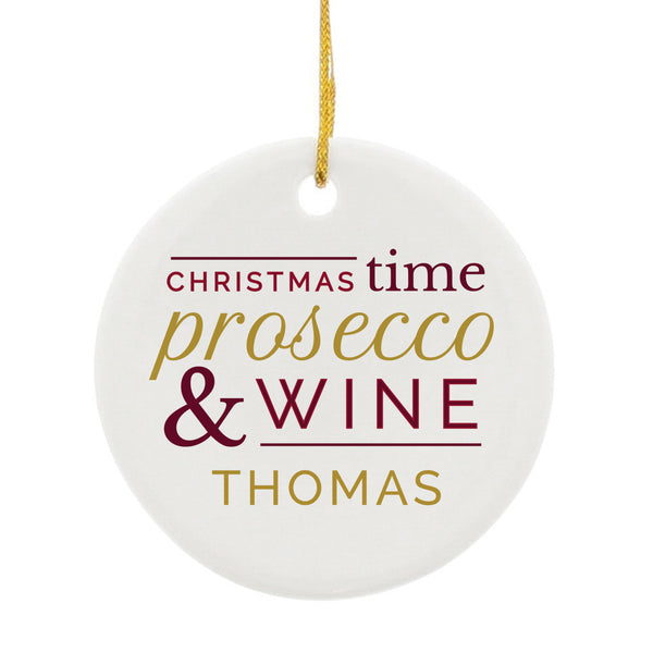 Personalised Prosecco & Wine Round Ceramic Decoration white background