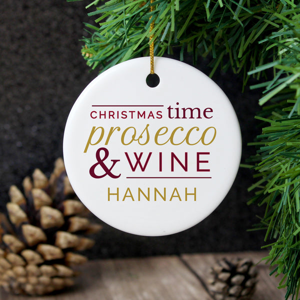 Personalised Prosecco & Wine Round Ceramic Decoration