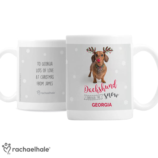 Personalised Rachael Hale Christmas Dachshund Through the Snow Mug white background