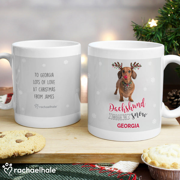Personalised Rachael Hale Christmas Dachshund Through the Snow Mug from Sassy Bloom Gifts - alternative view