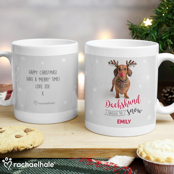 Personalised Rachael Hale Christmas Dachshund Through the Snow Mug with personalised name