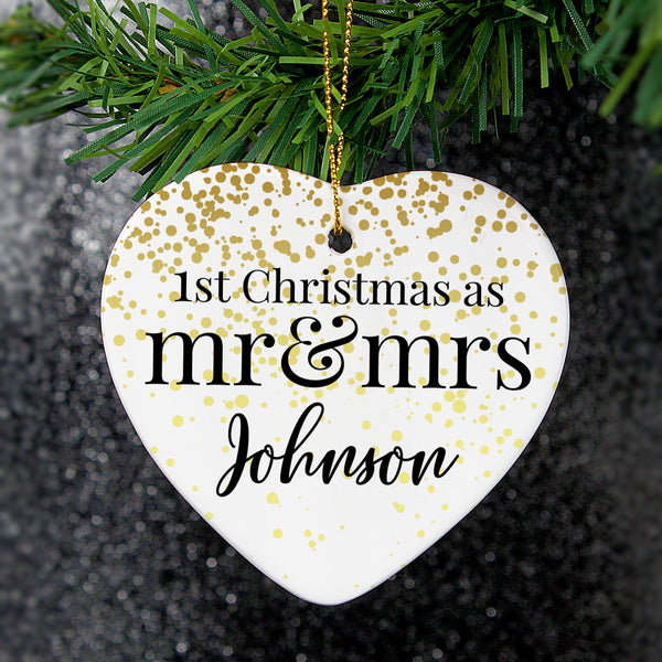 Personalised Mr and Mrs 1st Christmas Ceramic Heart Decoration white background