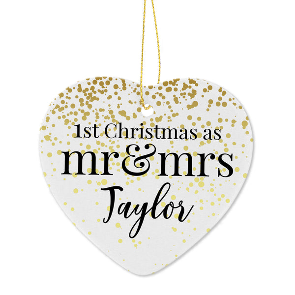 Personalised Mr and Mrs 1st Christmas Ceramic Heart Decoration from Sassy Bloom Gifts - alternative view