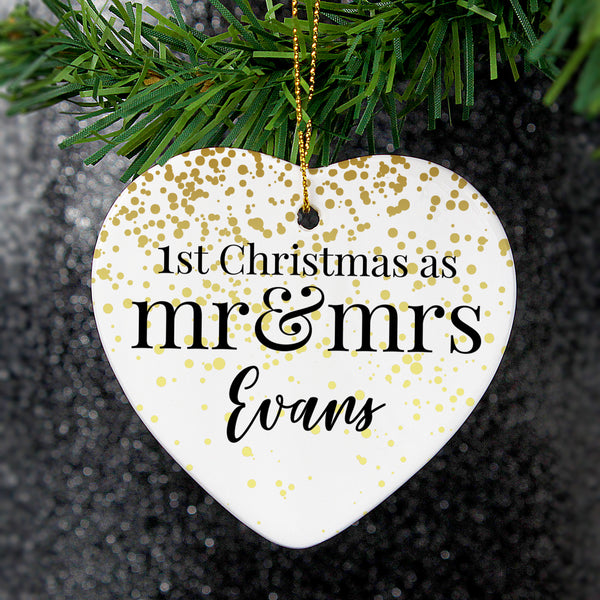 Personalised Mr and Mrs 1st Christmas Ceramic Heart Decoration lifestyle image