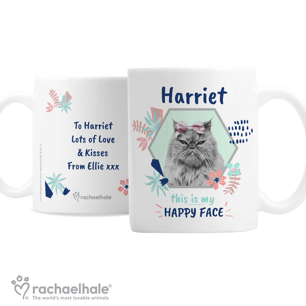 Personalised Rachael Hale 'Happy Face' Cat Mug white background