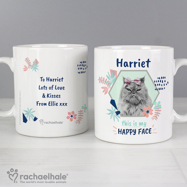 Personalised Rachael Hale 'Happy Face' Cat Mug lifestyle image