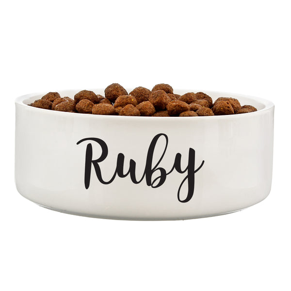 Personalised Any Name 14cm Medium White Pet Bowl white background