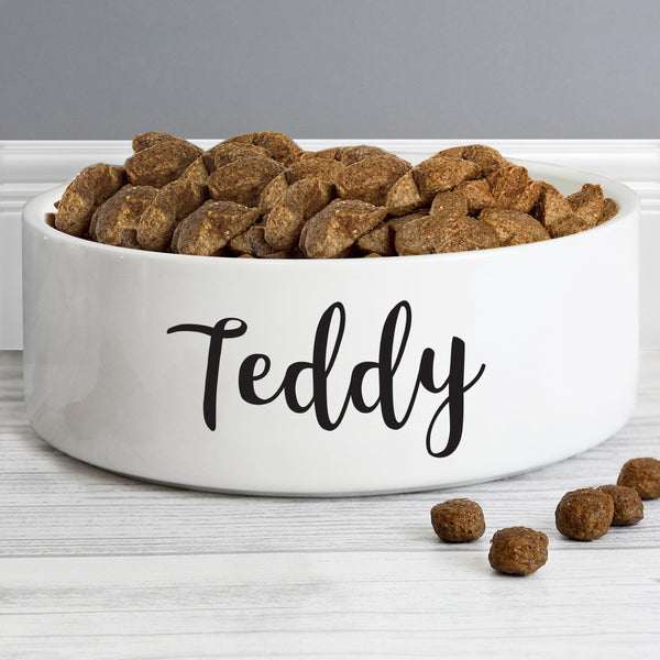 Personalised Any Name 14cm Medium White Pet Bowl from Sassy Bloom Gifts - alternative view