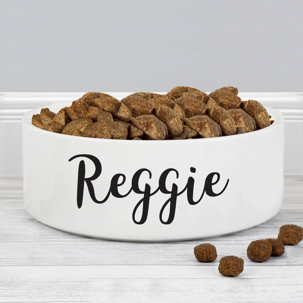 Personalised Any Name 14cm Medium White Pet Bowl lifestyle image
