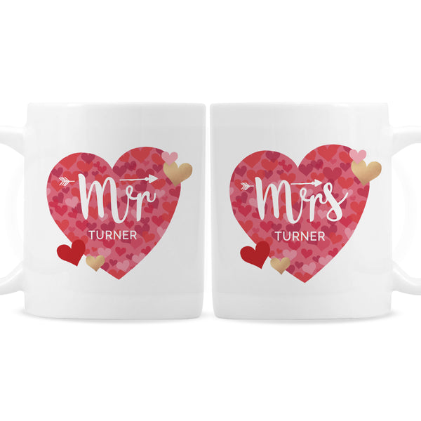 Personalised Mr and Mrs Valentine's Day Confetti Hearts Mug Set white background