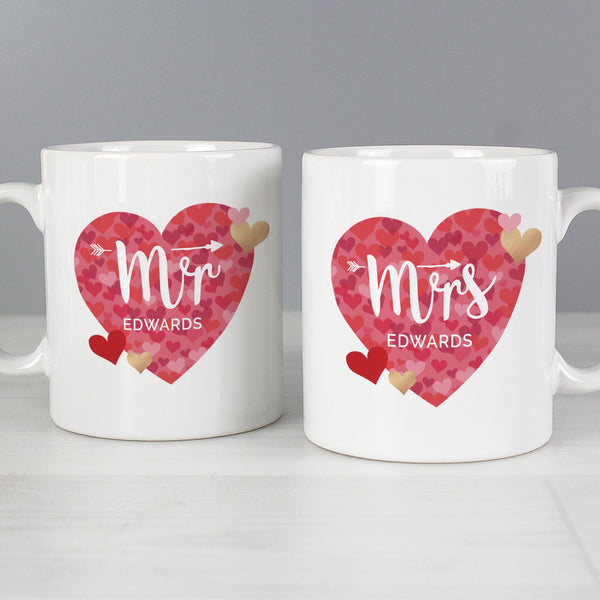 Personalised Mr and Mrs Valentine's Day Confetti Hearts Mug Set with personalised name