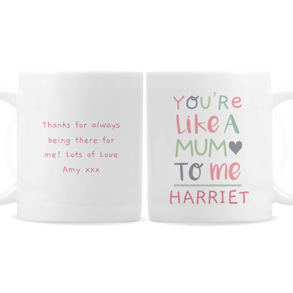 Personalised 'You're Like a Mum to Me' Mug white background