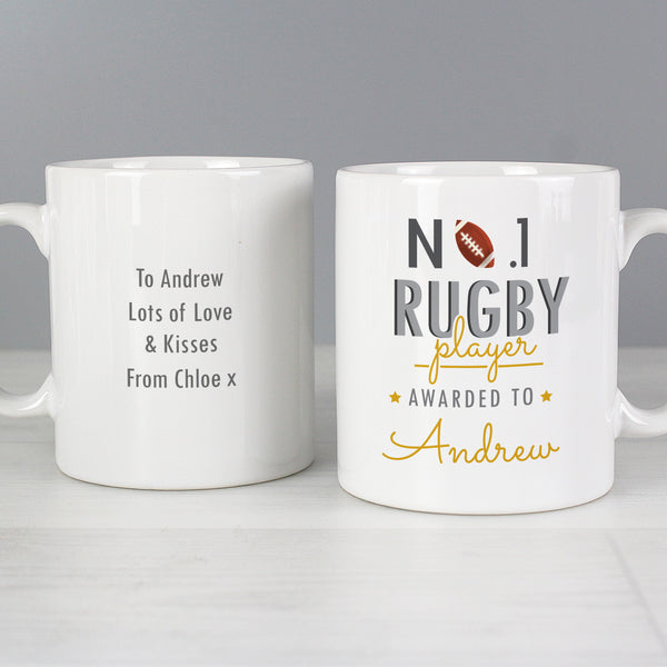 Personalised No.1 Rugby Player Mug lifestyle image