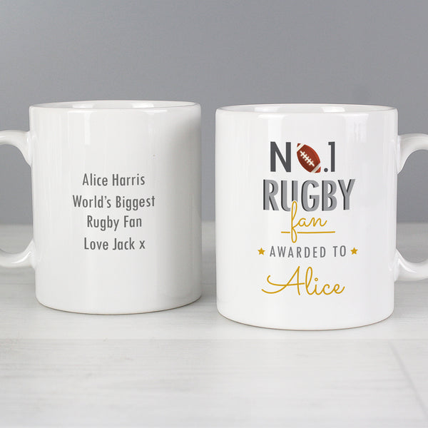 Personalised No.1 Rugby Fan Mug lifestyle image