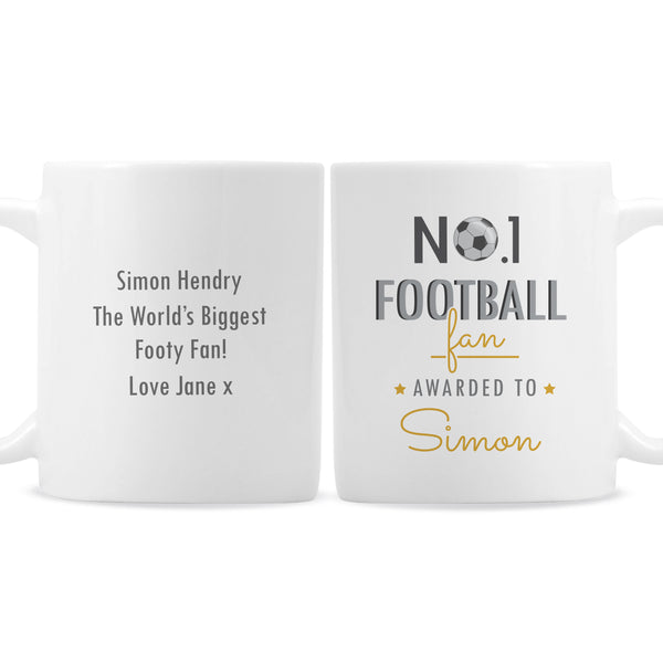Personalised No.1 Football Fan Mug white background