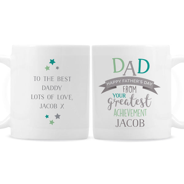 Personalised 'Dad's Greatest Achievement' Mug white background