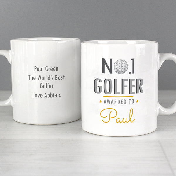 Personalised No.1 Golfer Mug with personalised name