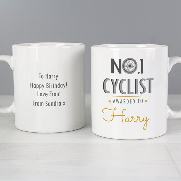 Personalised No.1 Cyclist Mug with personalised name