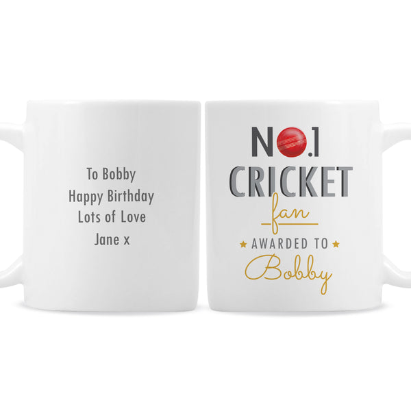 Personalised No.1 Cricket Fan Mug white background