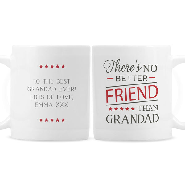 Personalised 'No Better Friend Than Grandad' Mug white background