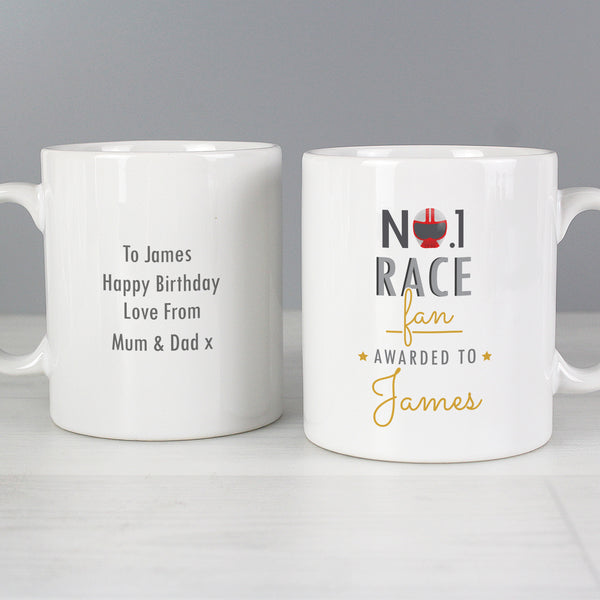 Personalised No.1 Race Fan Mug with personalised name