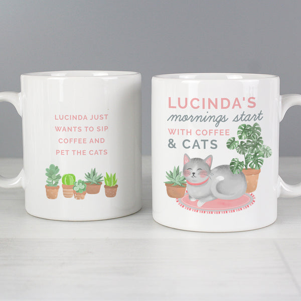 "Personalised """"Mornings Start with Cats and"""" Mug"